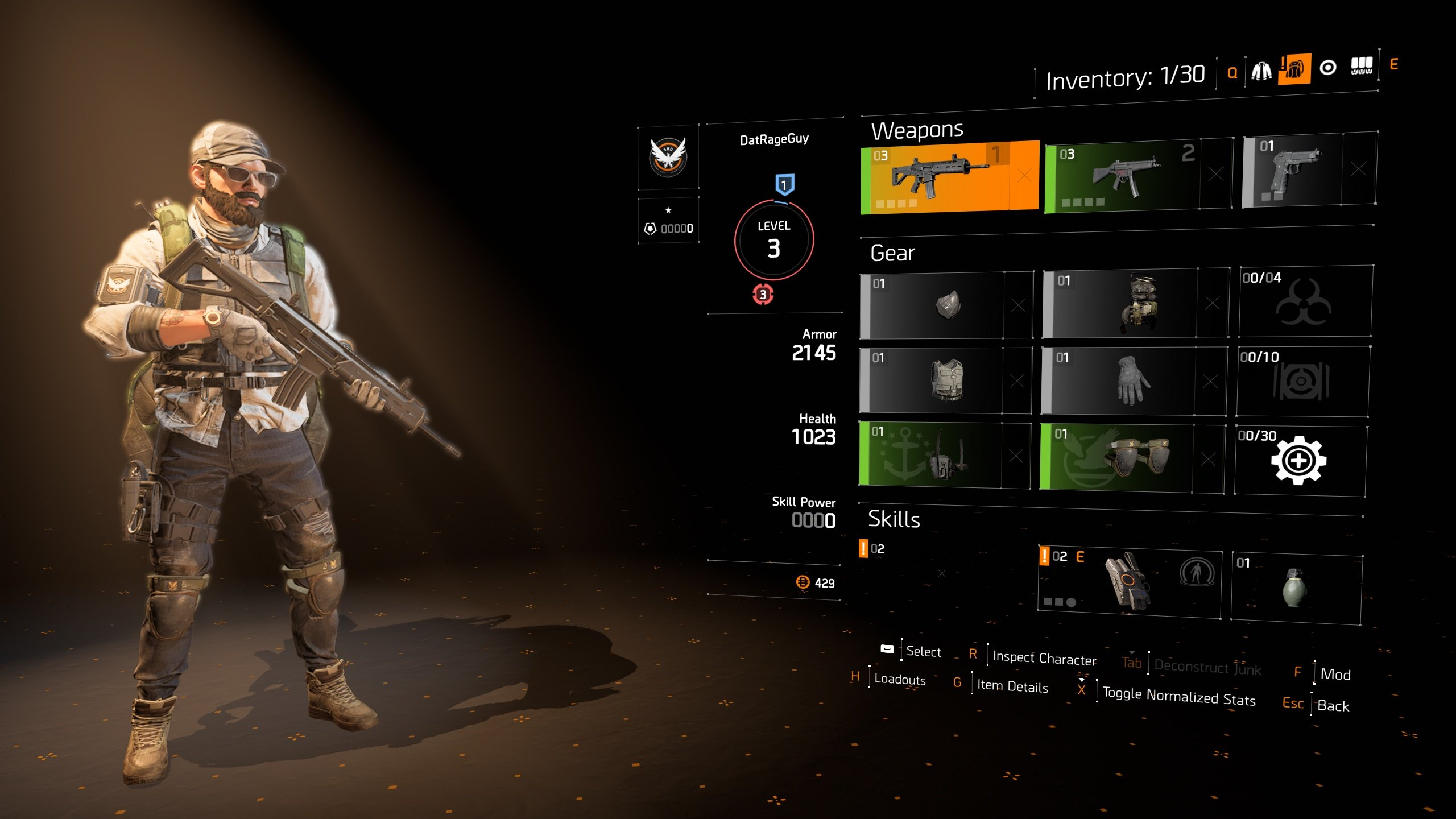 how to change clothes in The Division 2 - inventory management screen