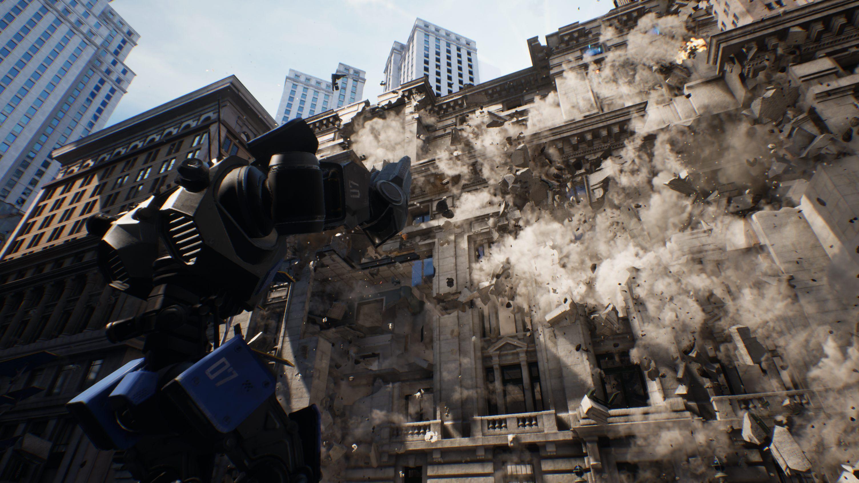 Unreal Engine Chaos system physics destruction destructive environment Robo Recall screenshot