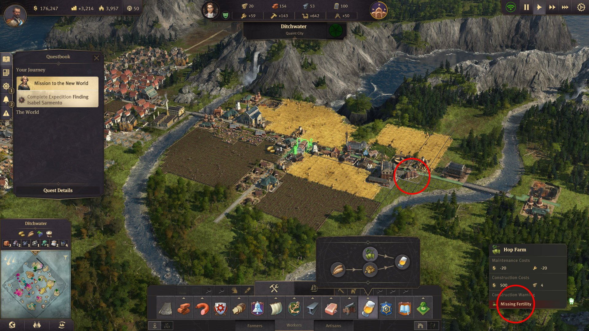 """What does """"missing fertility"""" mean in Anno 1800? 