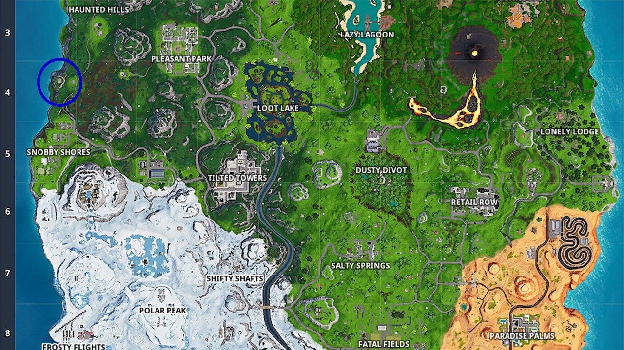 Fortnite season 8 week 7 hidden battle star location on map