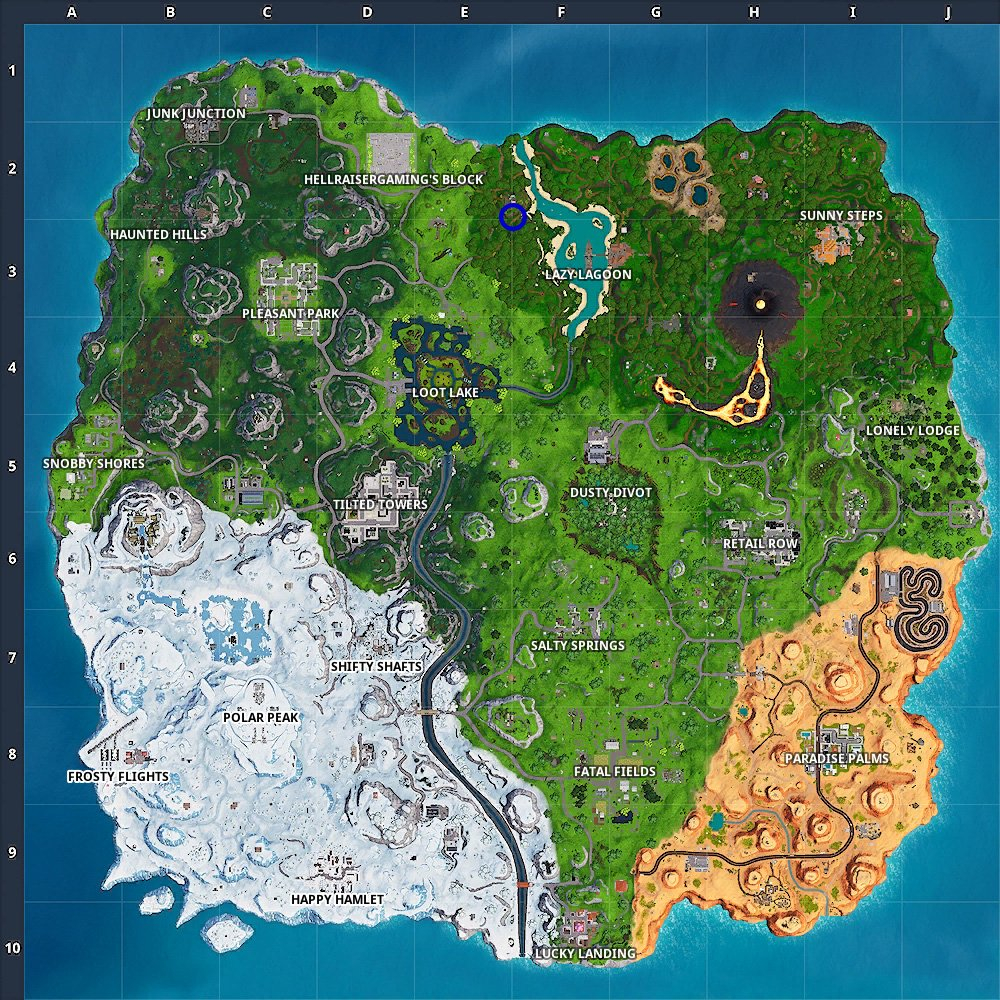 Fortnite season 8 week 6 hidden banner location on map