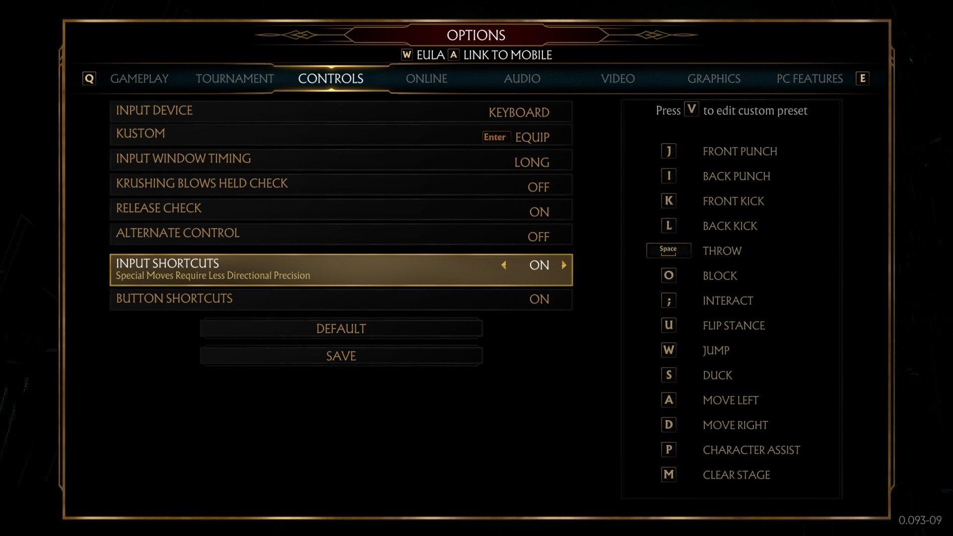 Mortal Kombat 11 PC controls and keybindings