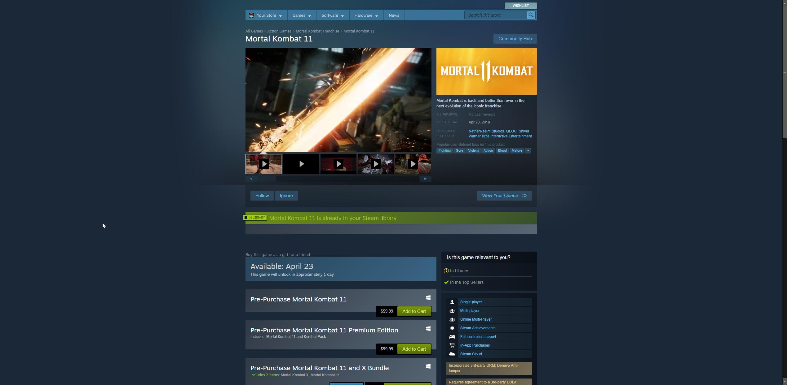 Mortal Kombat 11 steam release timer