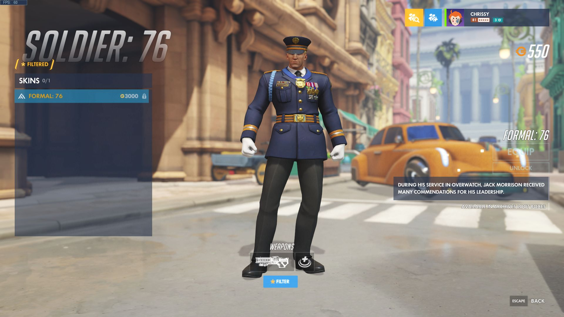 Overwatch Soldier: 76 Formal skin
