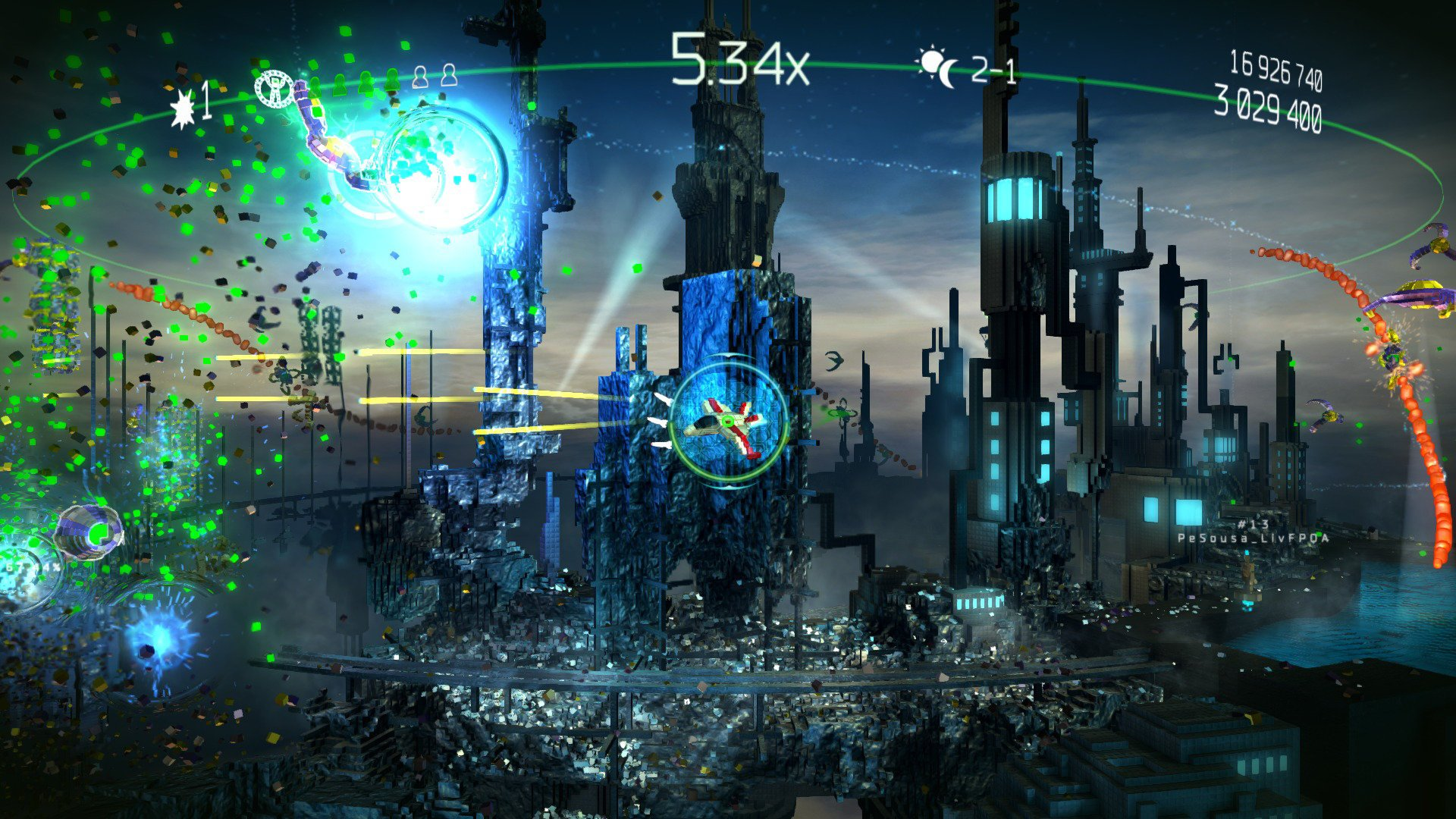 Resogun gameplay - developed by Housemarque