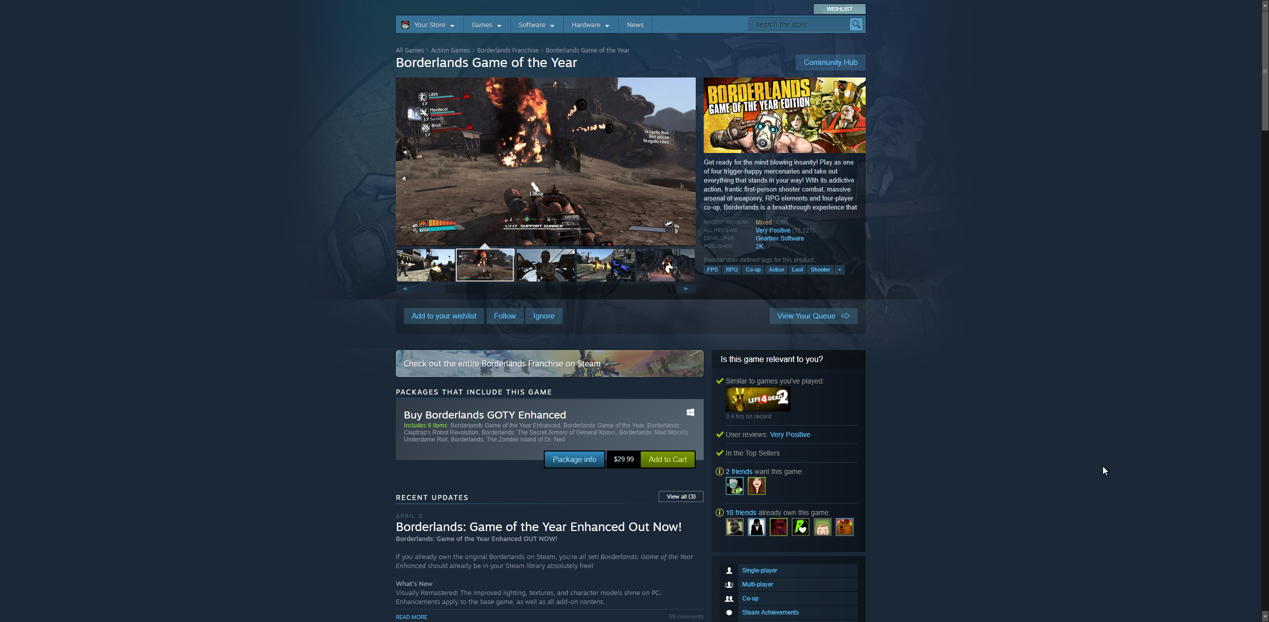 Borderlands series being review bombed on Steam - Recent reviews show as mixed on the Steam Store page for Borderlands GOTY