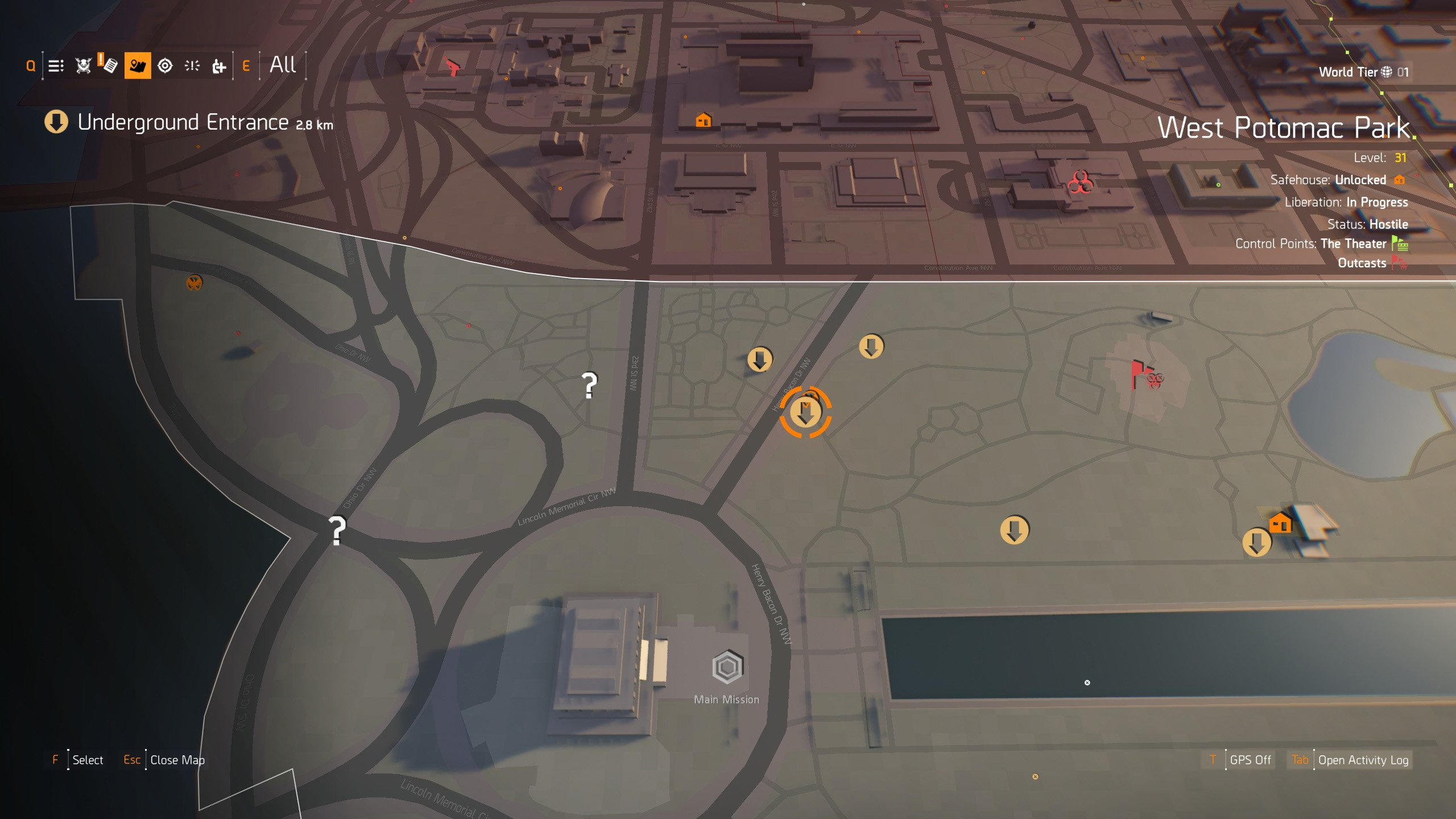 Ghoul Hunter Mask location in The Division 2 - starting the puzzle