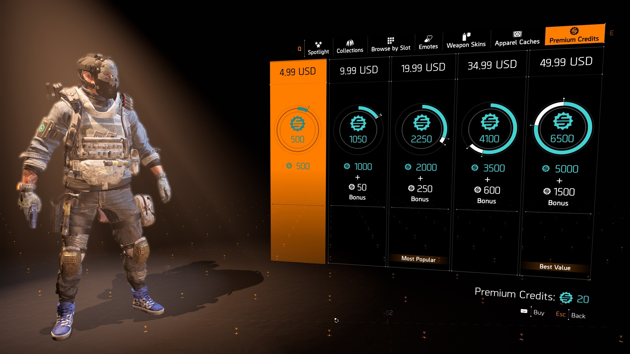 The Division 2 premium credits prices