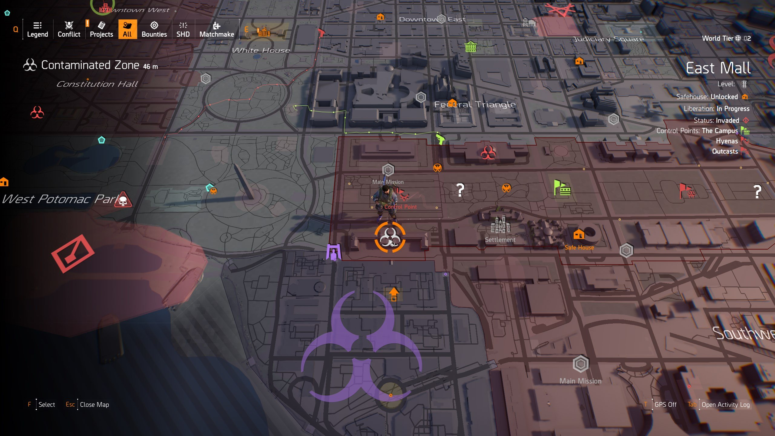 The Division 2 - Specter Mask Hunter Location on Map