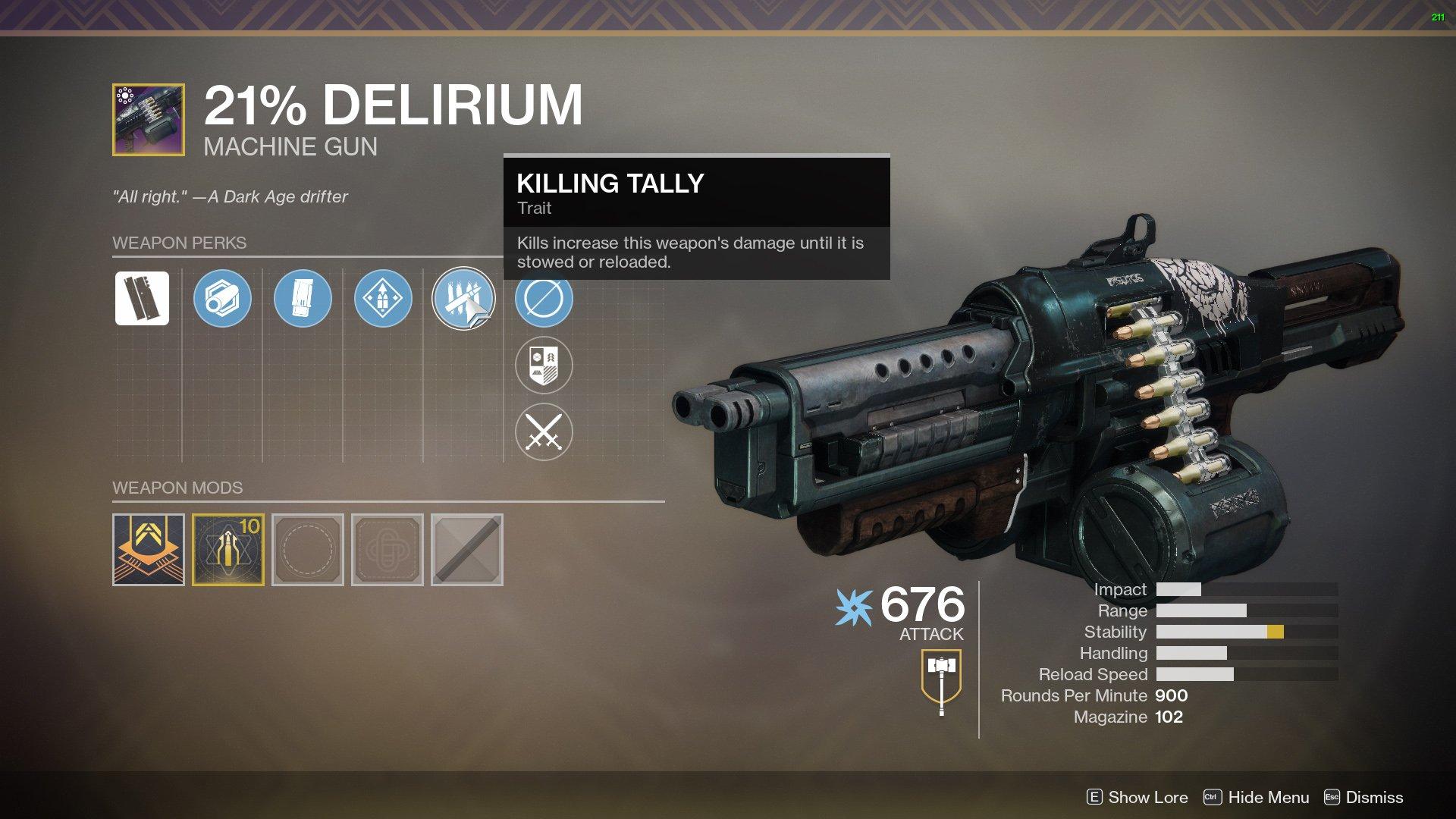 21% Delirium Destiny 2