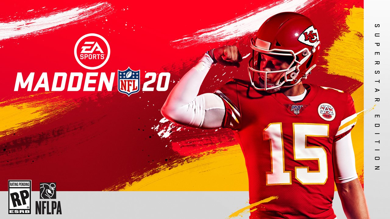 Patrick Mahomes on the cover of Madden NFL 20