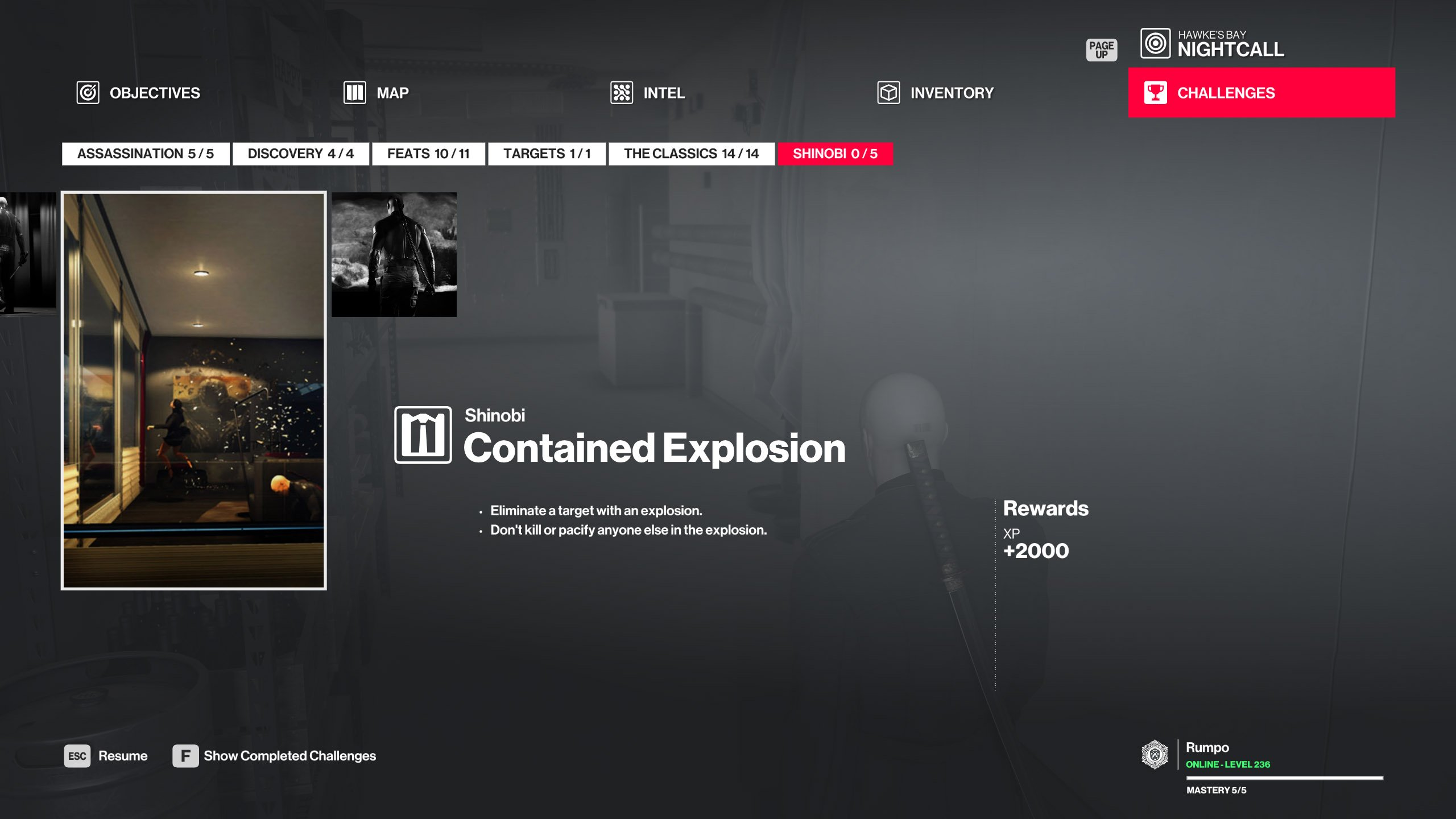 Hitman Shinobi walkthrough - Contained Explosion challenge