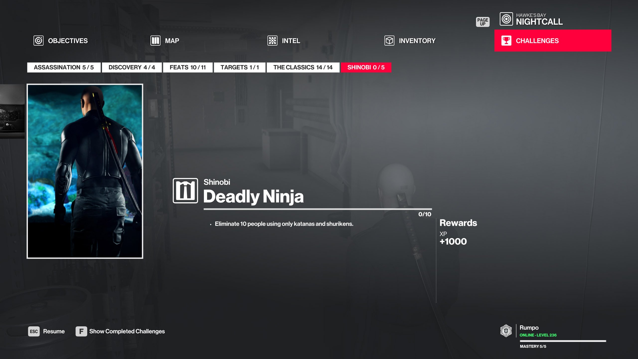 Hitman Shinobi walkthrough - Deadly Ninja challenge
