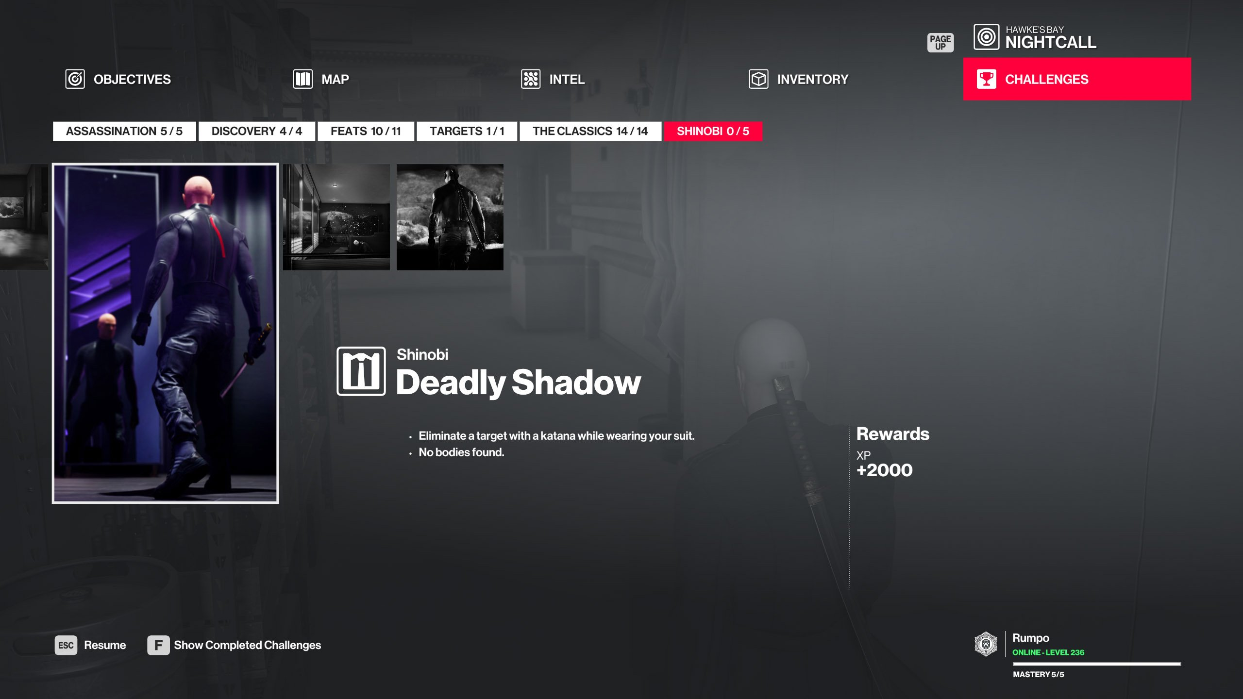 Hitman Shinobi walkthrough - Deadly Shadow challenge