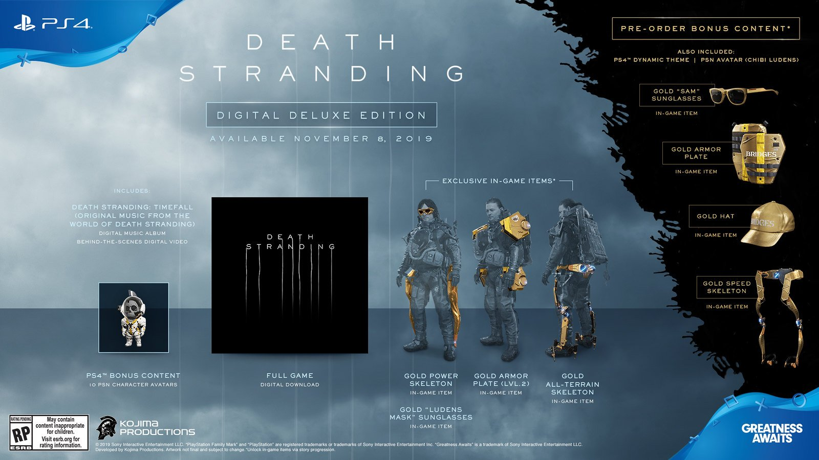 Death Stranding Digital Deluxe edition differences preorder bonuses