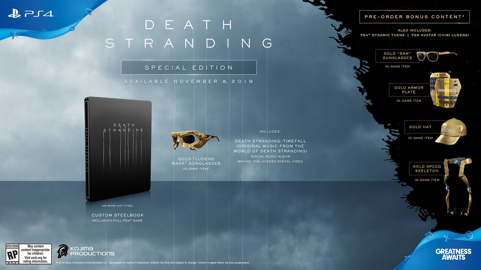 Death Stranding Special Edition differences preorder bonuses