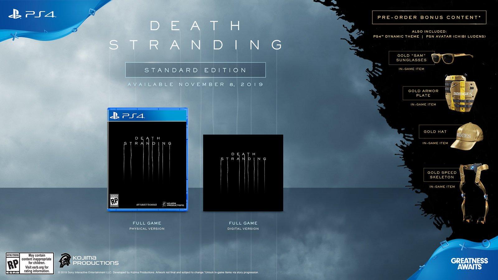 Death Stranding Standard Edition preorder bonuses
