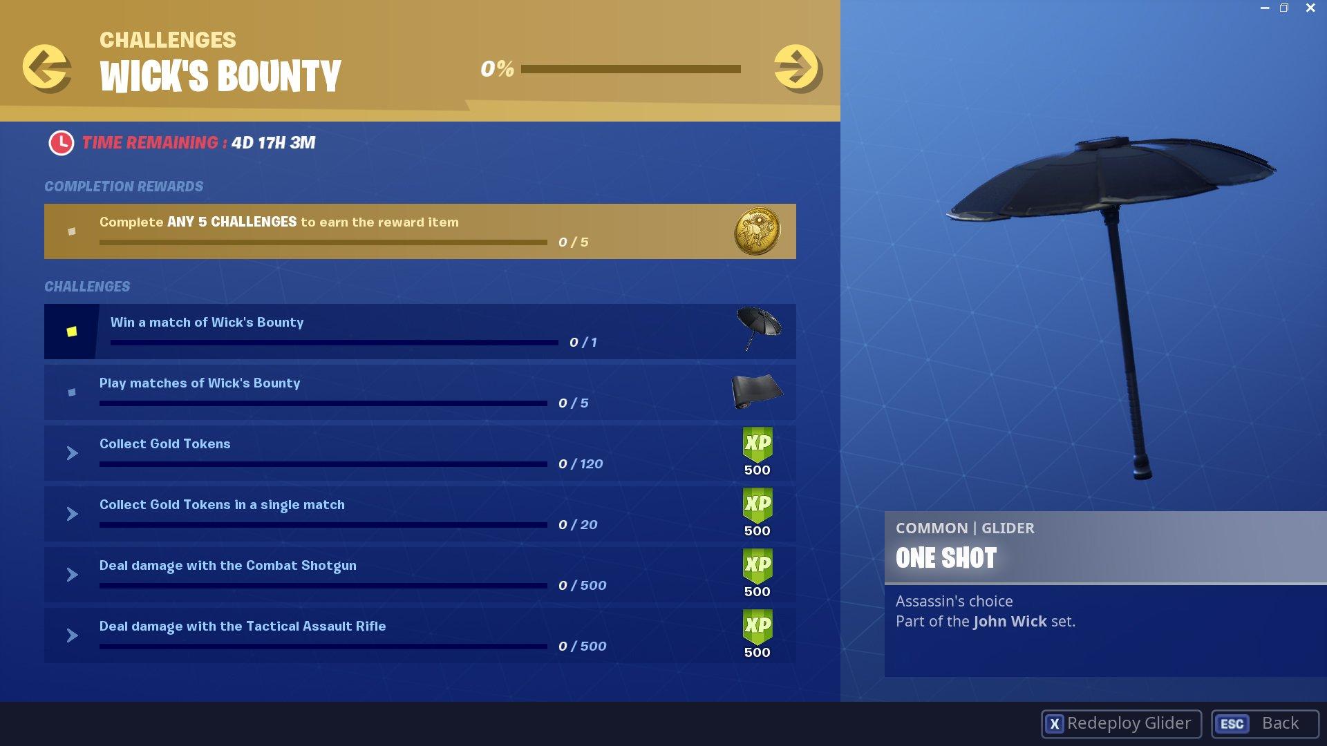 Wick's Bounty challenges - Fortnite | Shacknews