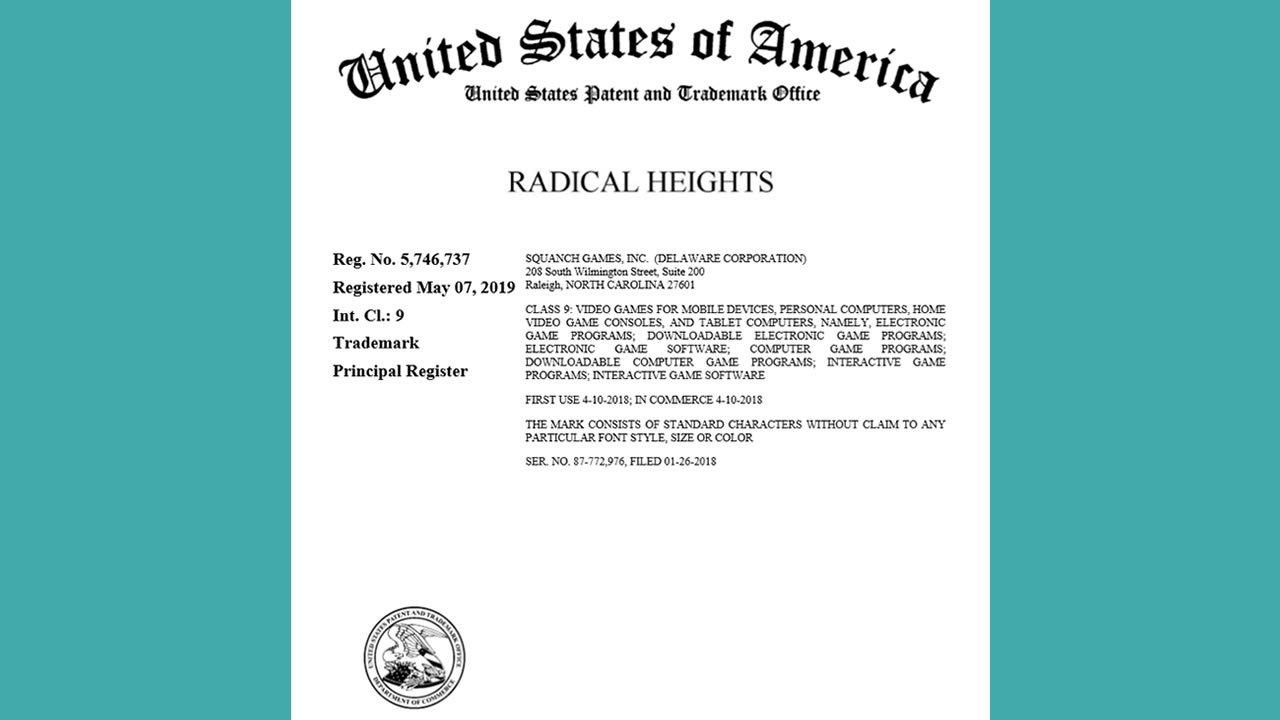 Squanch Games Radical Heights trademark certificate