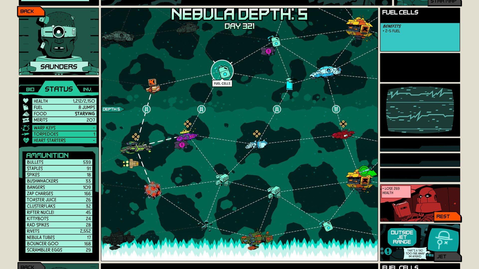 Void Bastards fuel star map