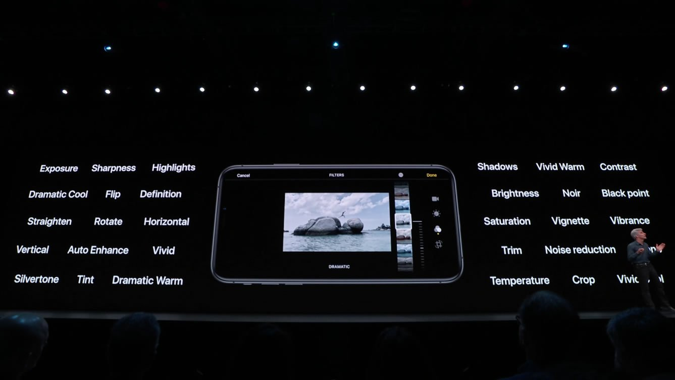 Apple WWDC 2019 photos camera video options filters adjustments