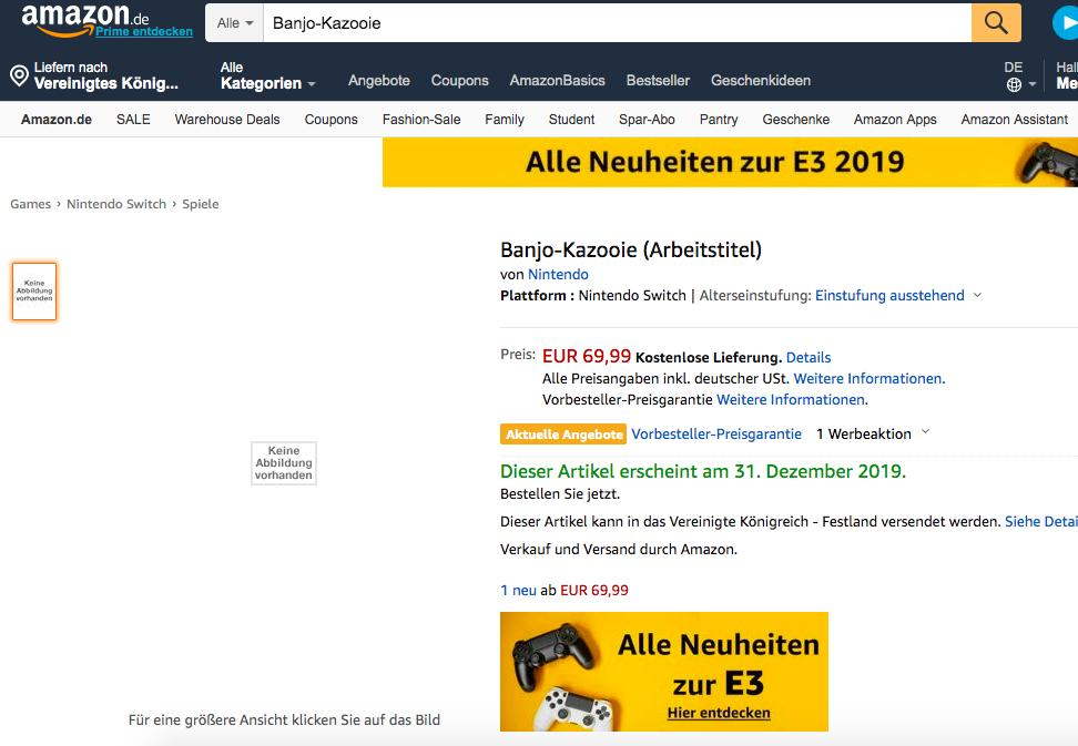 Banjo-Kazooie listing appears on Amazon Germany
