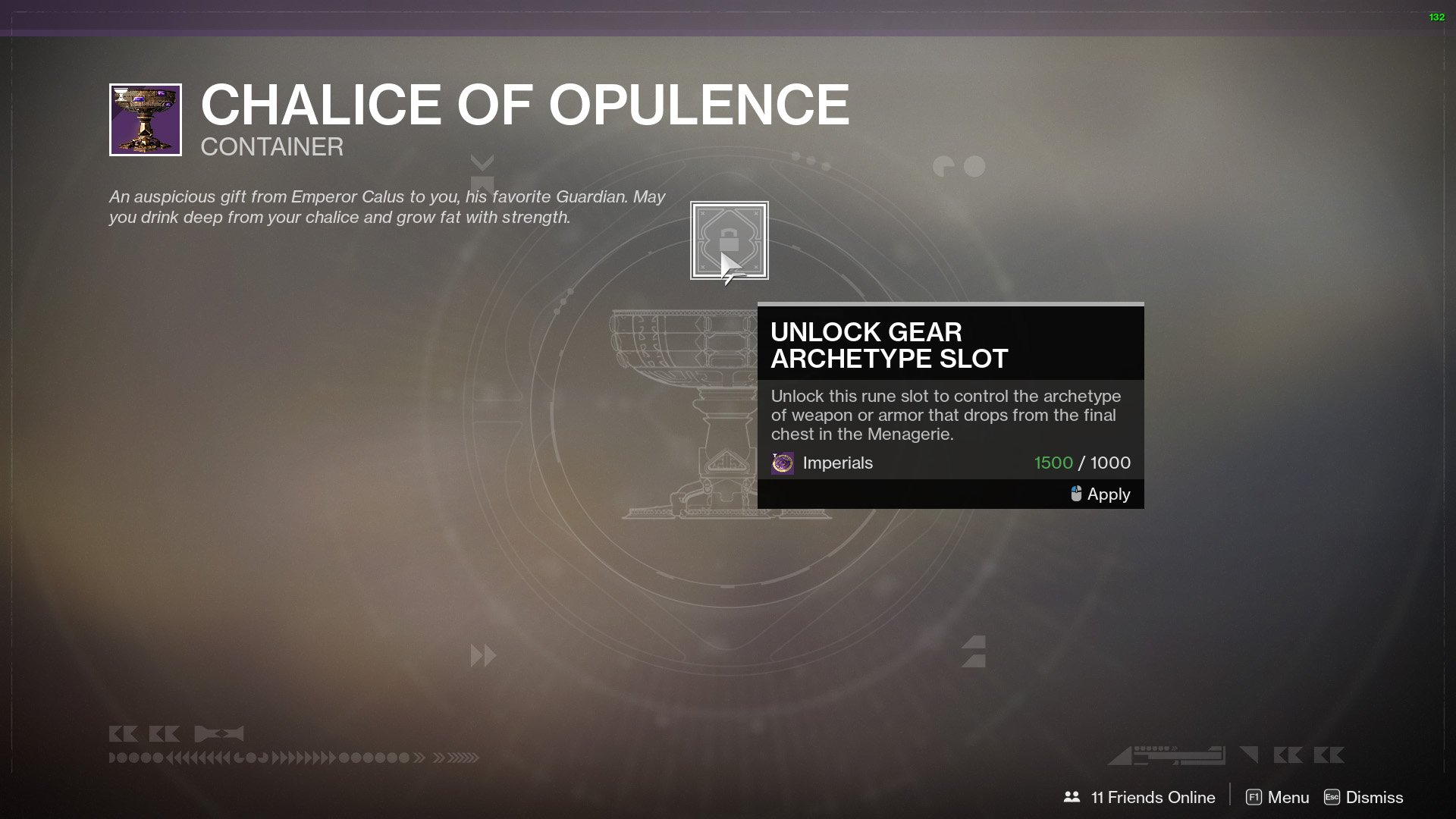 Destiny 2 Upgrade Chalice of Opulence
