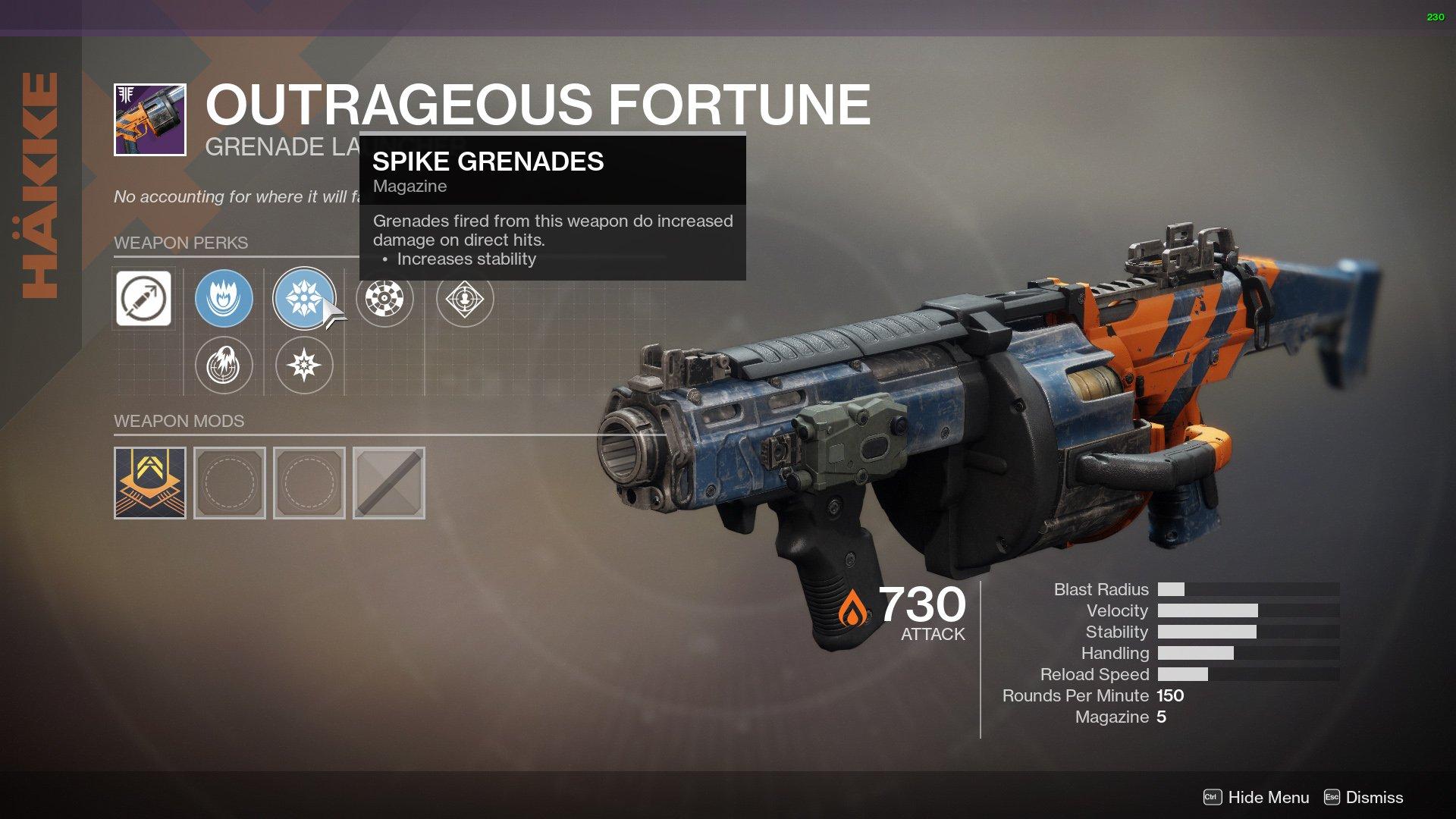 Outrageous Fortune Destiny 2