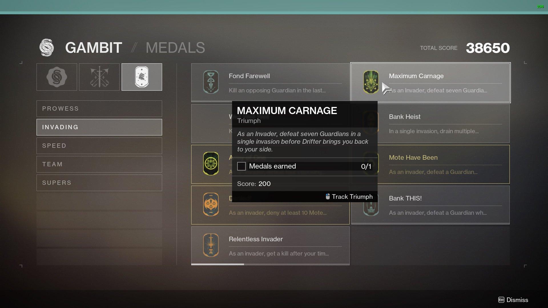Destiny 2 Gambit medals