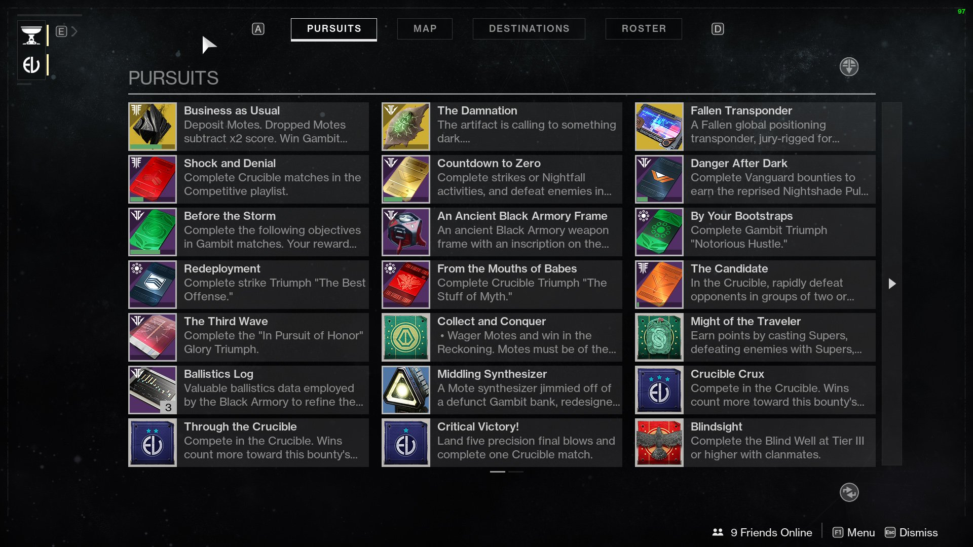 Destiny 2 Pursuits and Bounties