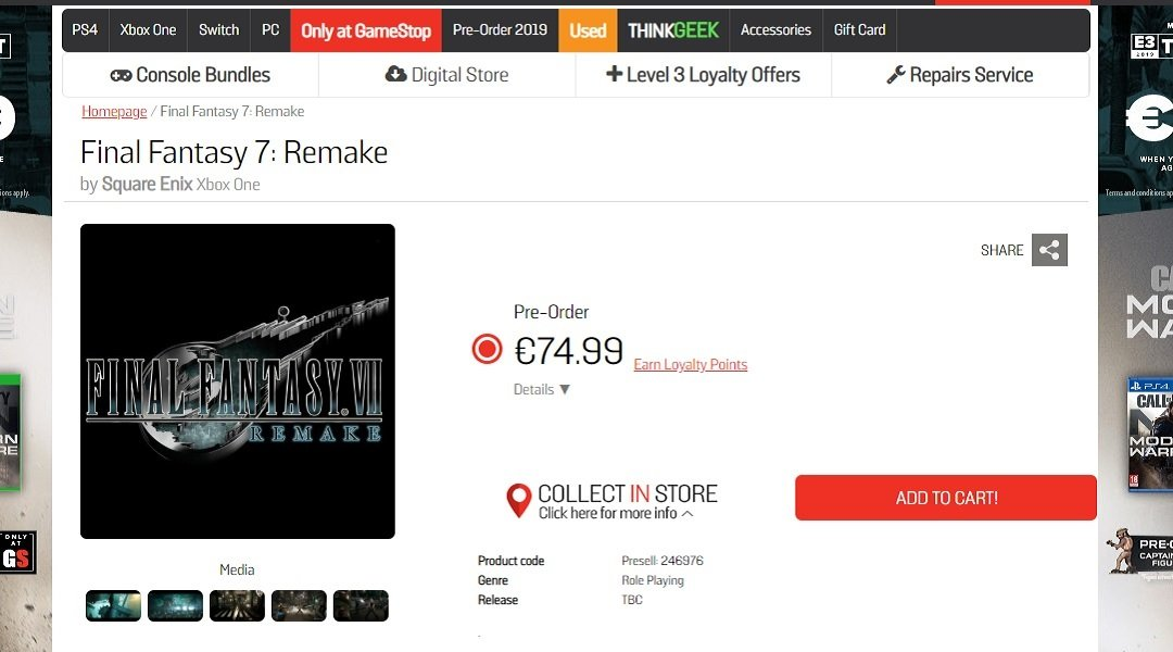 Leaked GameStop Ireland listing for Final Fantasy 7 Remake on Xbox One