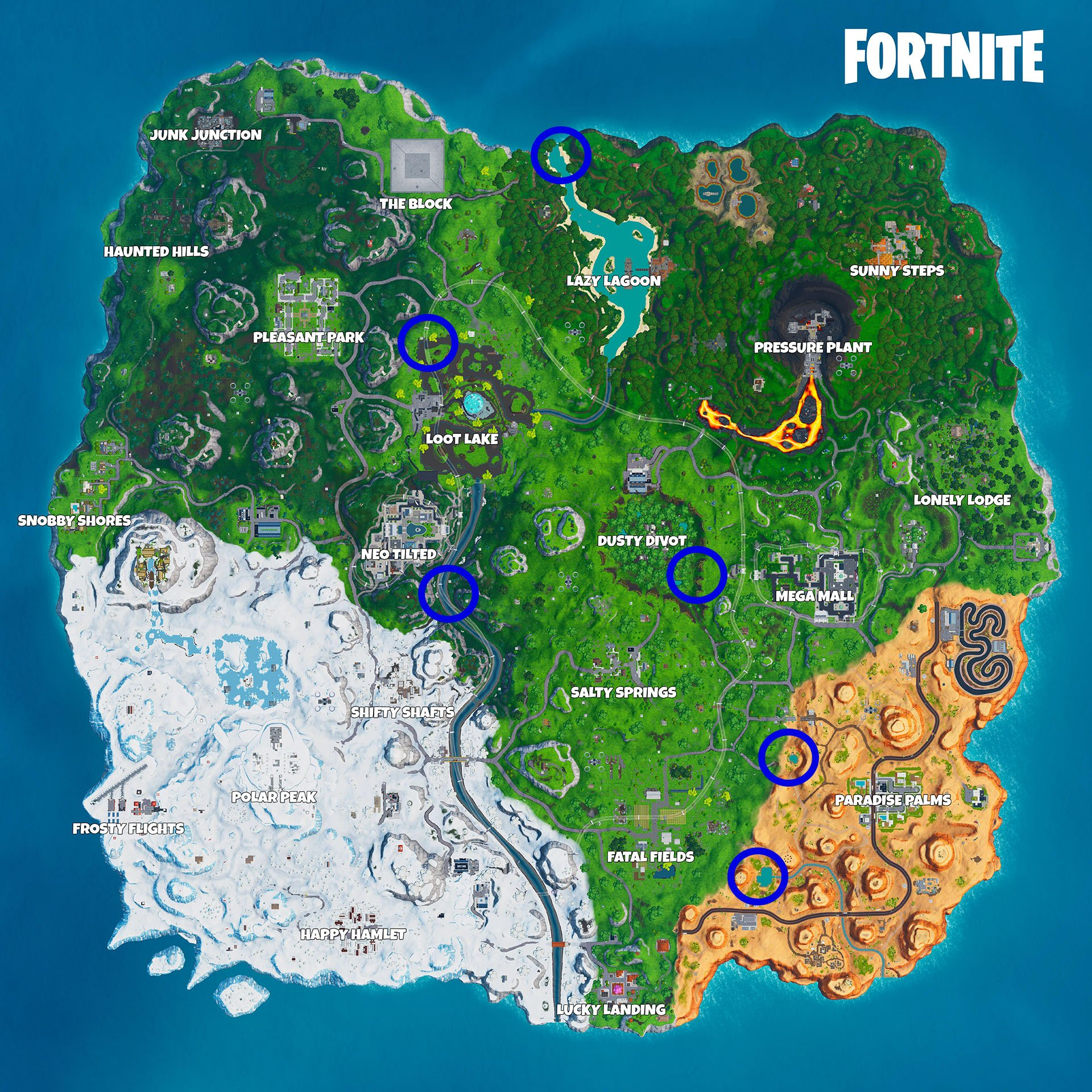 All six beach party locations in Fortnite