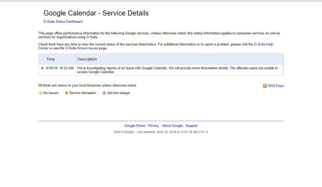 Google Calendar is down, G Suite Status Page says Google is investigating