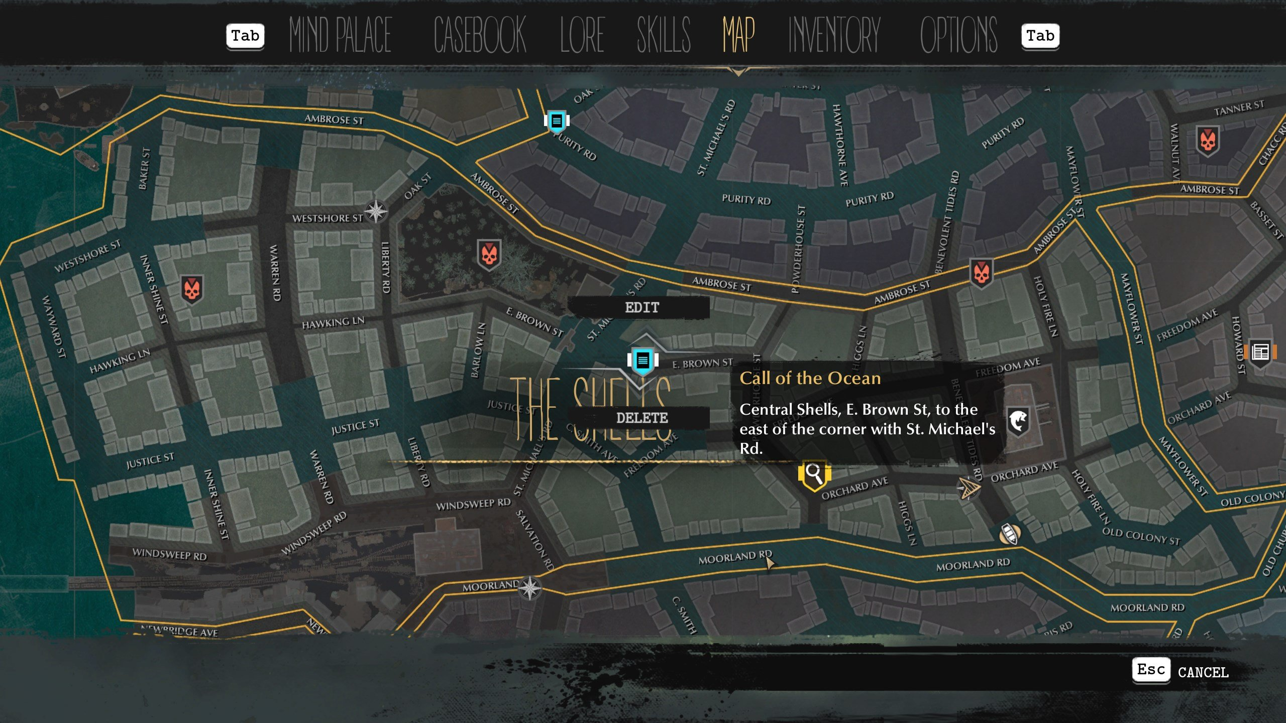How to mark quest locations on the map in The Sinking City
