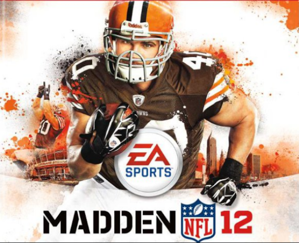 Cleveland Brown Peyton Hillis somehow made his way onto the Madden NFL 12 cover .