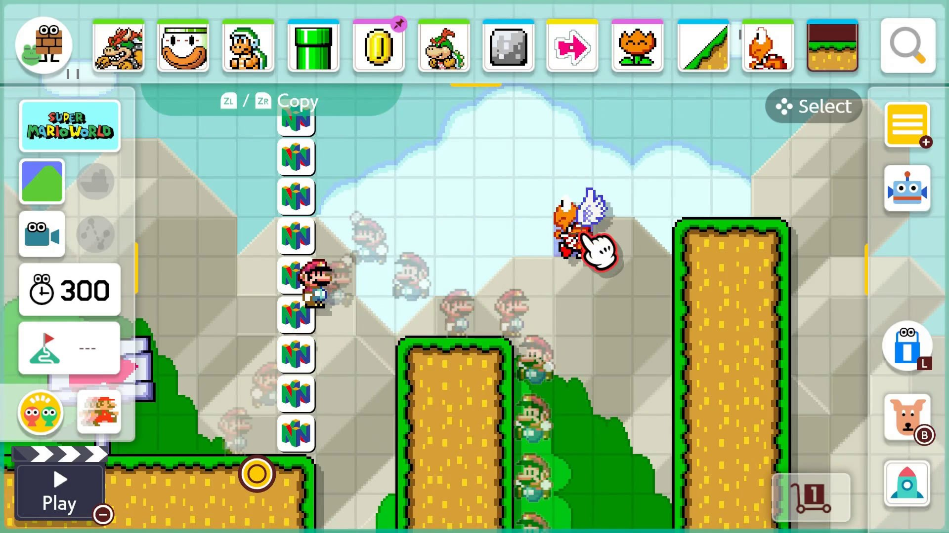 Super Mario Maker 2 Course Maker - How to grab and copy objects