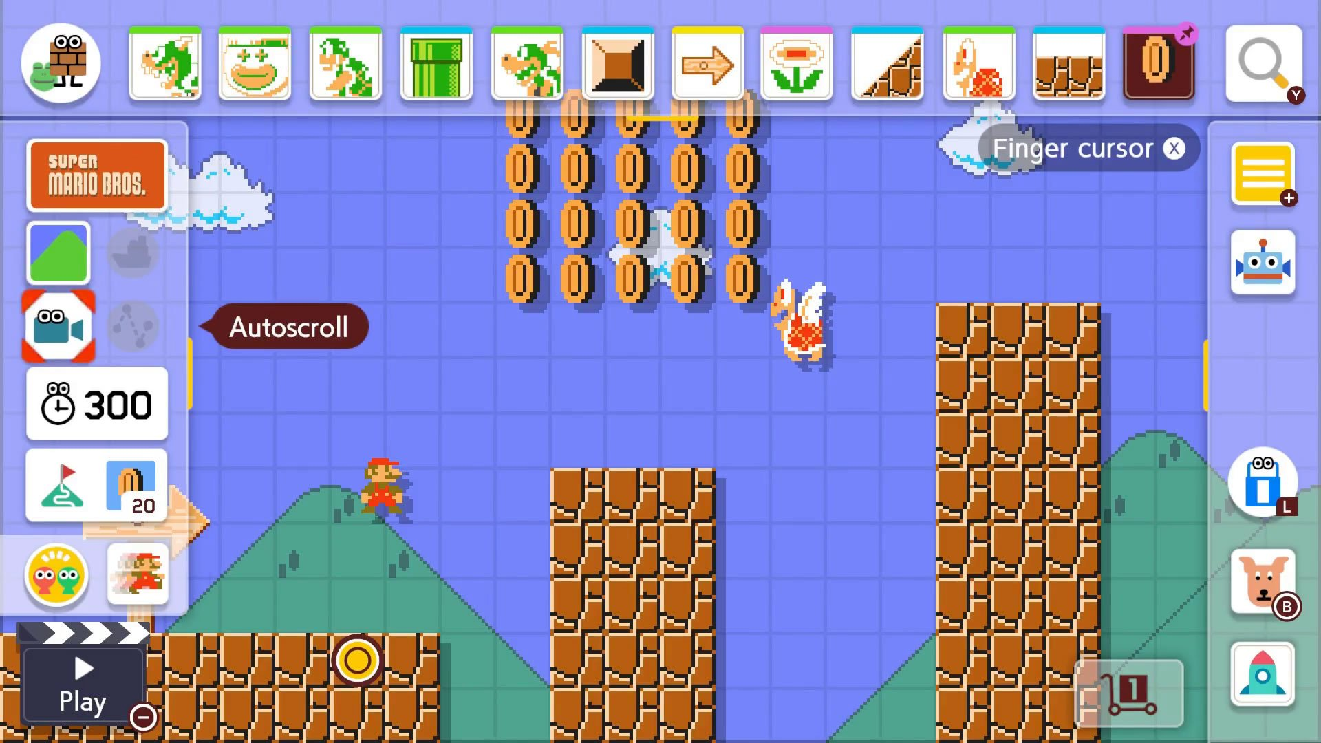 Super Mario Maker 2 Course Maker - How to use autoscroll button