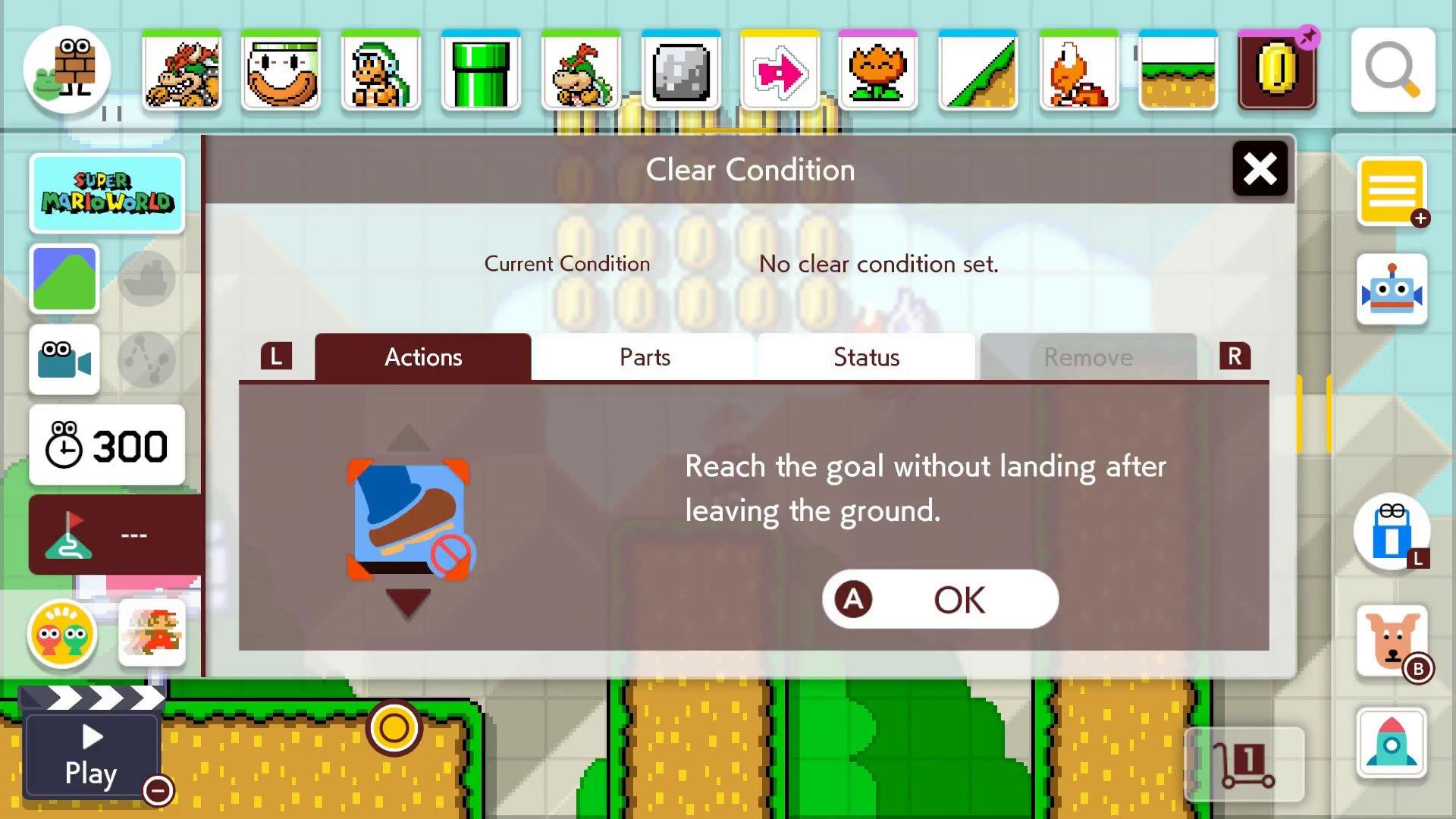 Super Mario Maker 2 Course Maker - Set Clear Conditions menu
