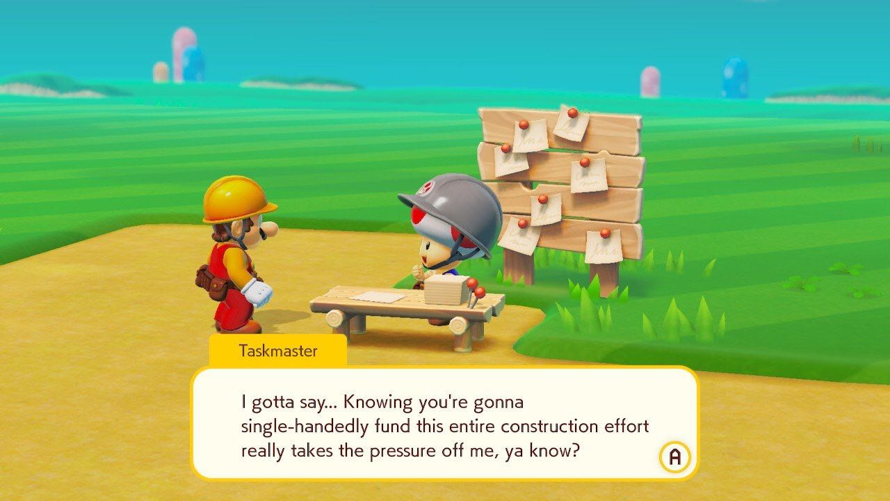 Taskmaster Toad passed the buck to good old Mario.