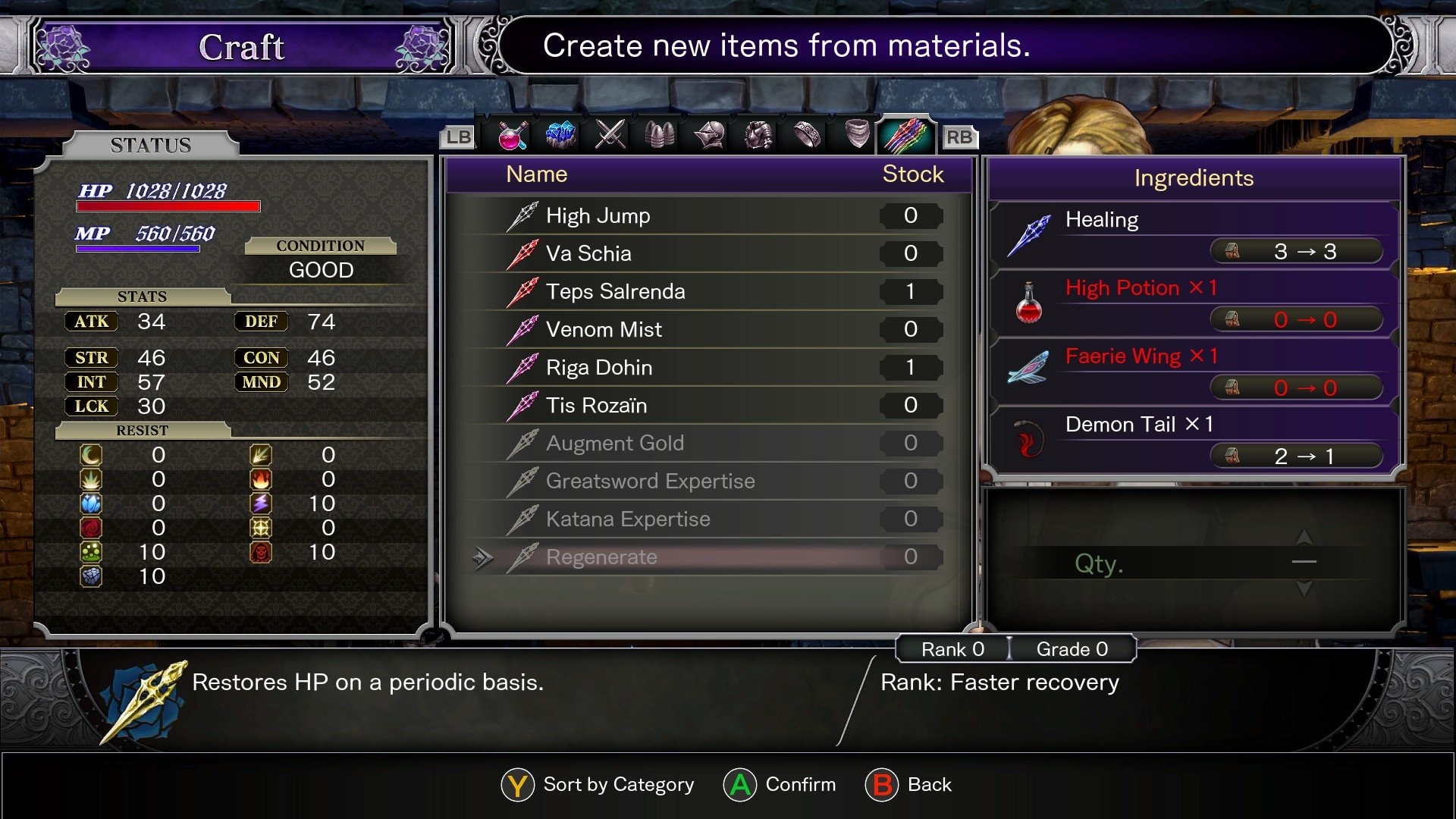 Bloodstained: Ritual of the Night how to heal - Regenerate shard craft Johannes