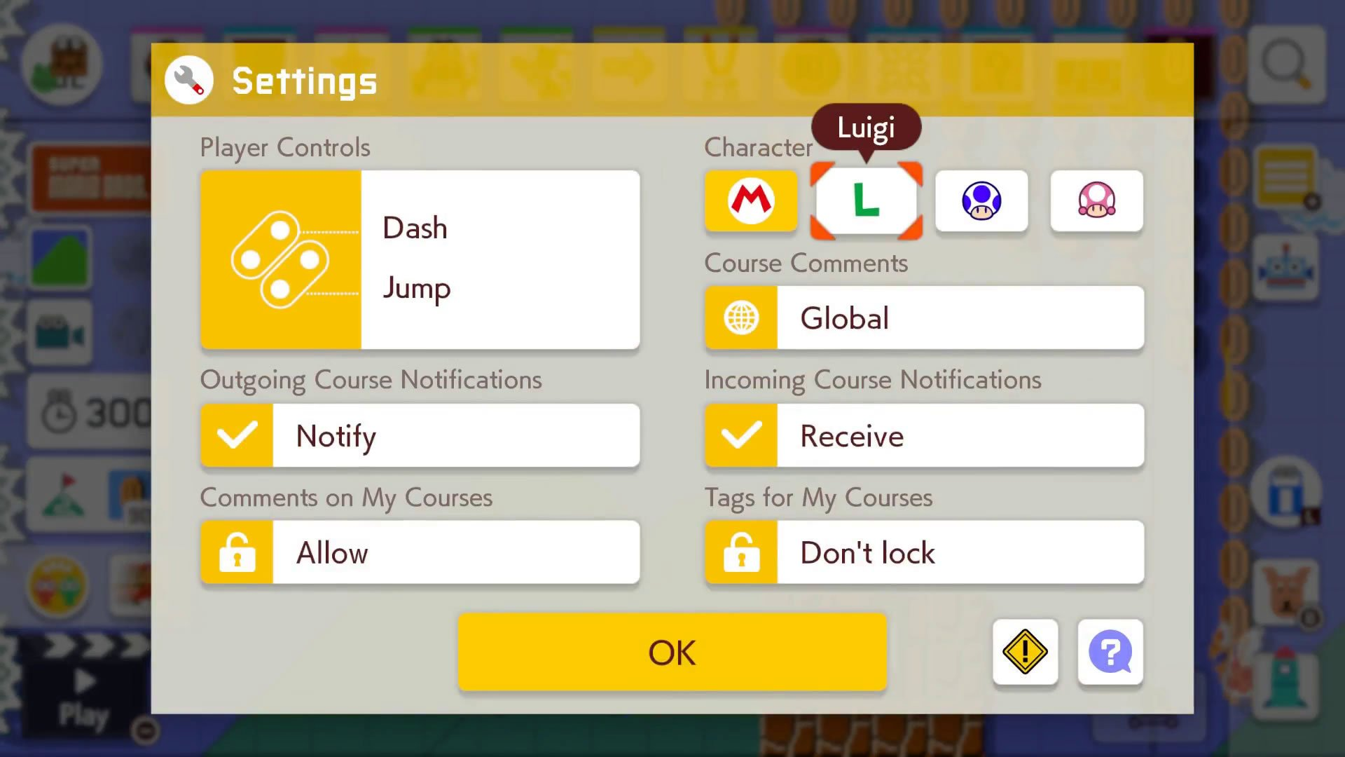 How to change characters in Super Mario Maker 2 settings menu