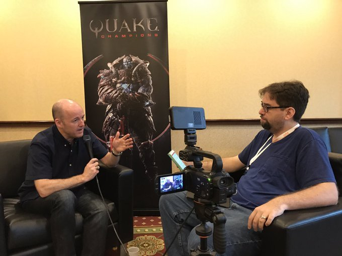 Tim Willits seen here actively doing it for Shacknews as he and Long Reads Editor David Craddock talk Quake.