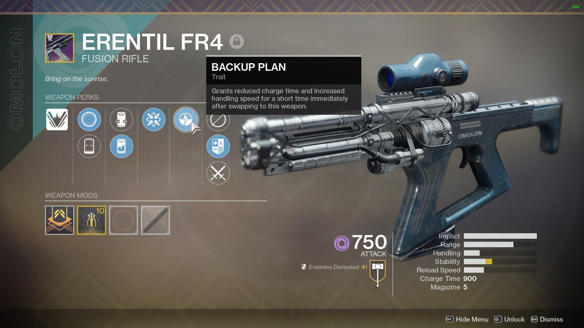 Erentil FR4 god roll Destiny 2