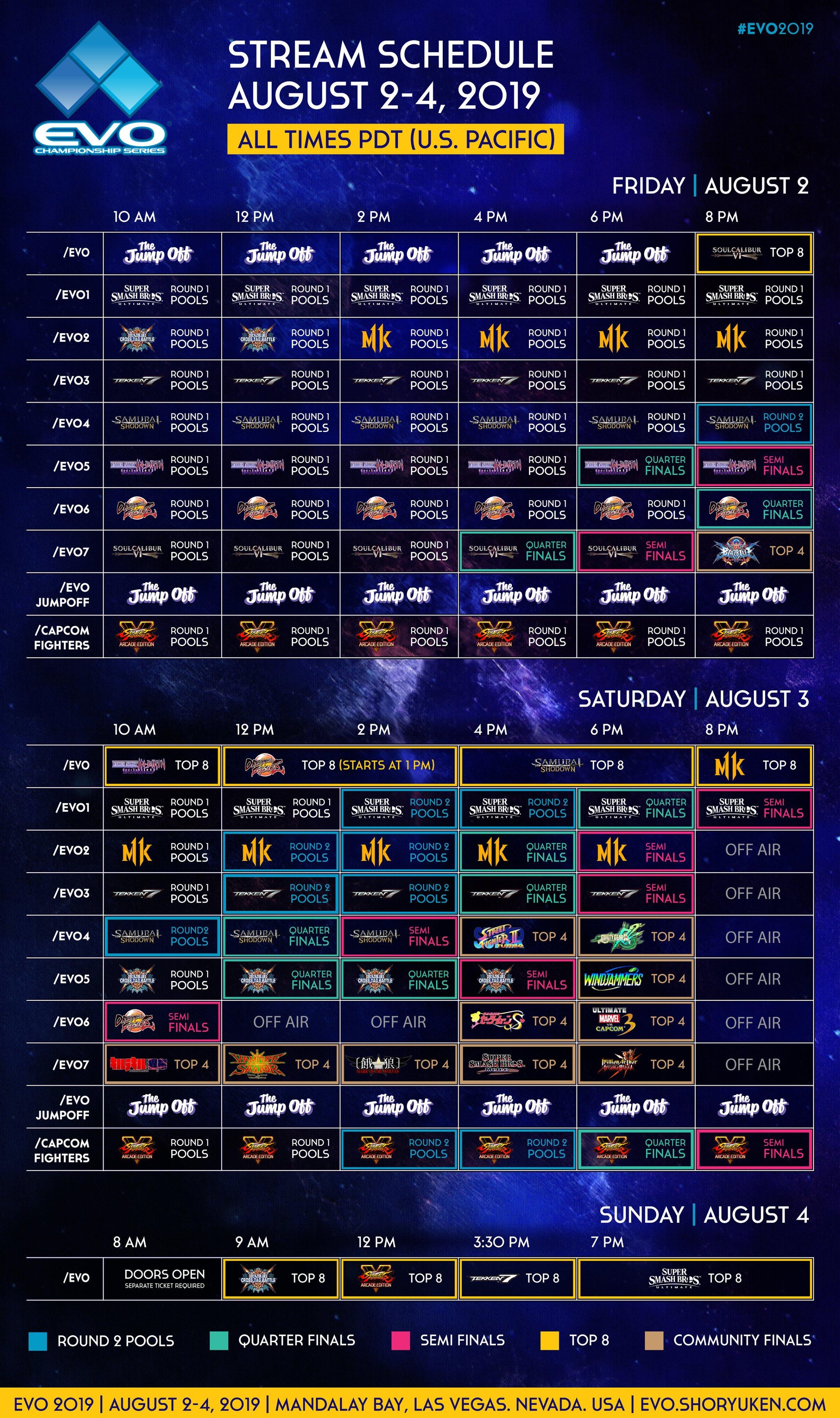 evo 2019 championship series schedule  streams  tickets