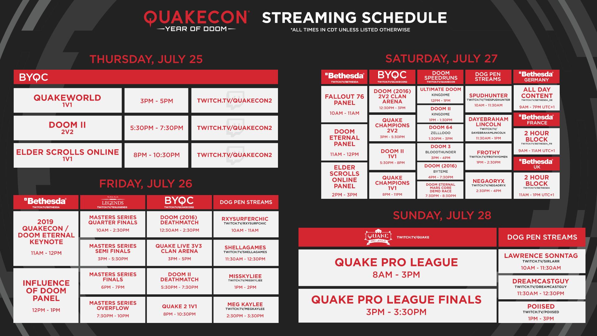 QuakeCon 2019 streaming schedule