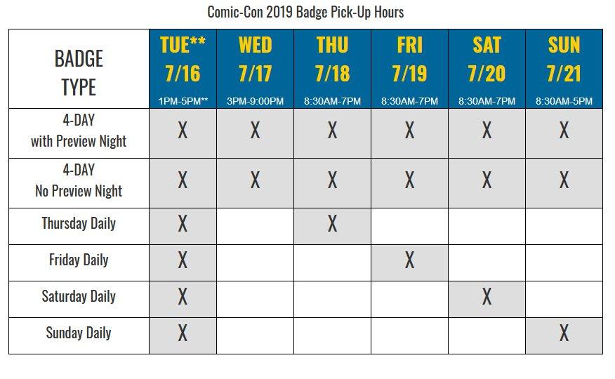 SDCC 2019 badge pickup times chart