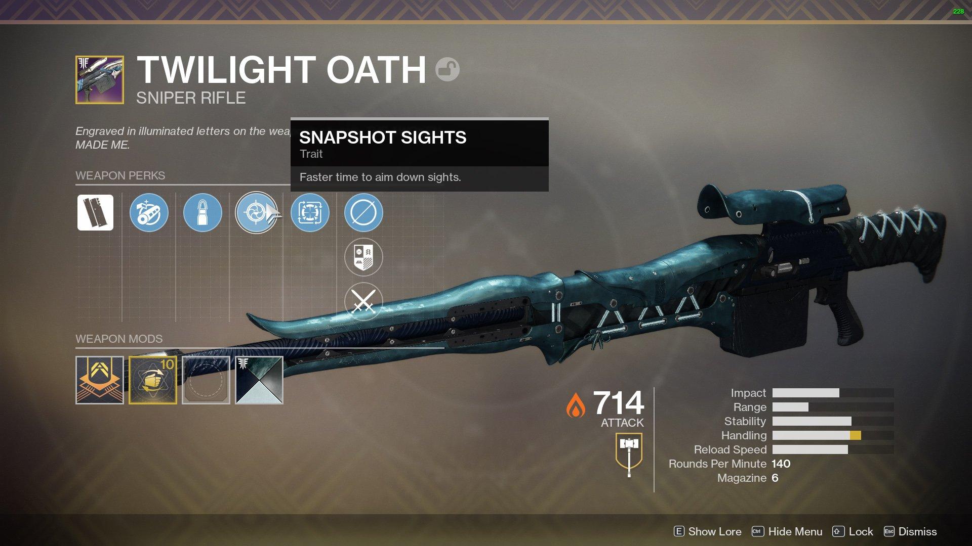 Twilight Oath god roll Destiny 2