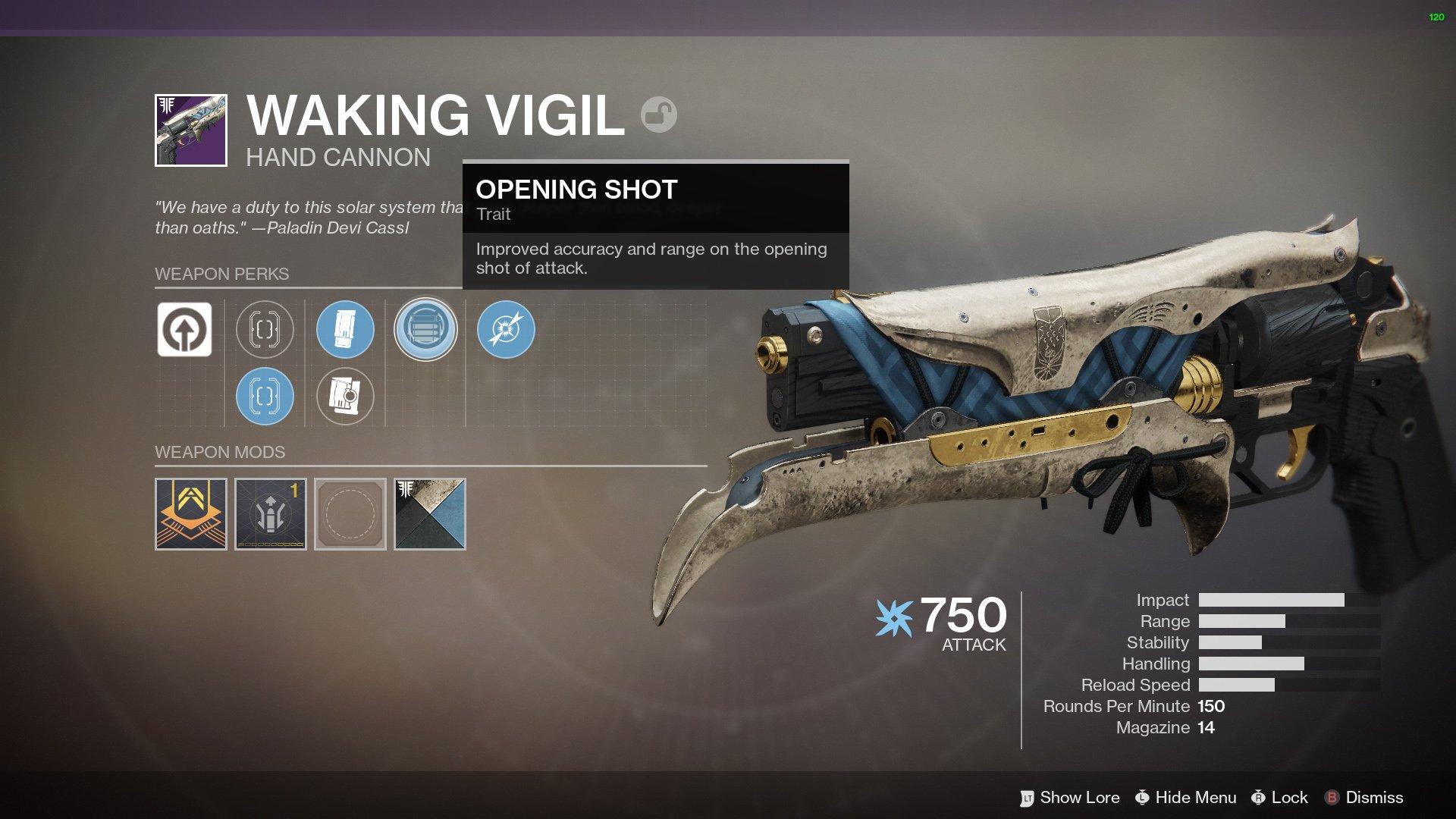 Waking Vigid god roll Destiny 2
