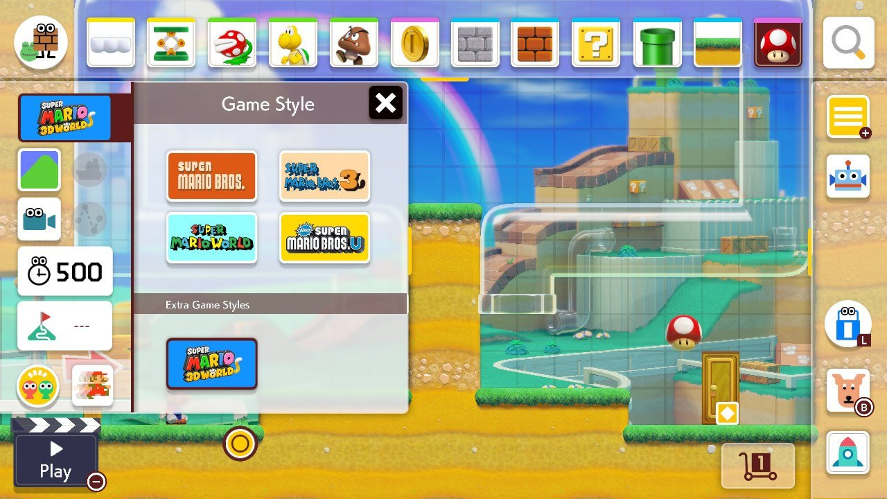Will Super Mario Maker 2 get new game styles - extra space in Course Maker menu
