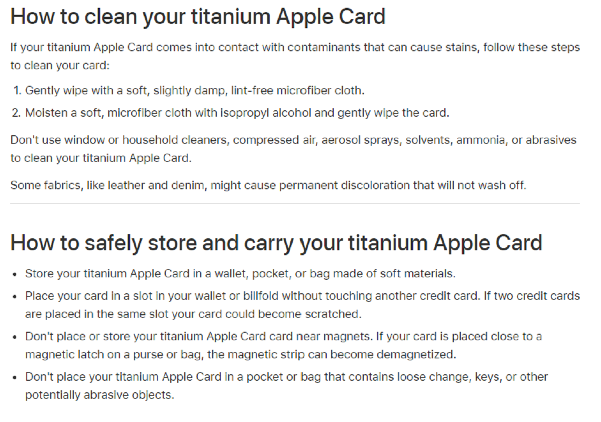 Apple has provided some tips and tricks to maintaining the titanium Apple Card.